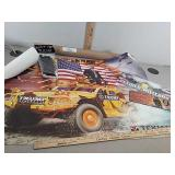 Trump poster, AR flask, military license plate