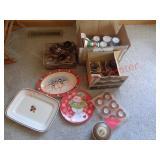 Soup crocks, coffee mugs, Christmas plates