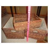 3 decorative wicker storage baskets