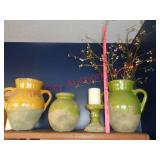 3 Pottery Barn vases & candle holder