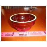 "5"" USA brown salt glaze crock bowl - good cond"