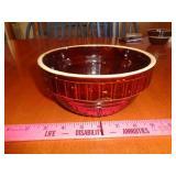 "7"" USA brown salt glaze crock bowl - good cond"