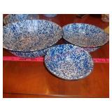3 vintage speckled enamelware bowls