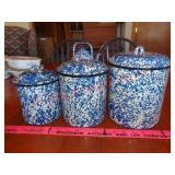 3 speckled enamelware canisters w/ lids