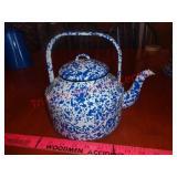 Speckled enamelware teapot