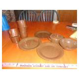 11 pc brown enamelware