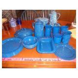 blue enamelware set - plates, cups +++