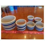 6 Roseville Ohio blue stripe crocks