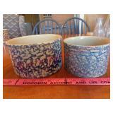 2 Roseville spongeware crocks