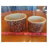 2 brown spongeware crocks
