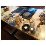 candle holders, decor rocks, spongeware crock +
