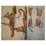 2 pair antique ice skates