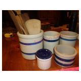 Roseville blue band crocks & wood utensils