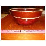 "9"" brown crock mixing bowl"