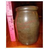 Dark salt glaze crock w/ drips