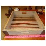 Antique wood egg washing box / tray