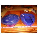 blue enamelware - bed pan & roaster / pot w/ lid