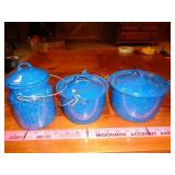 blue enamelware canisters w/ lids