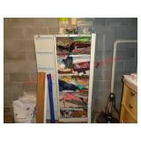 metal storage cabinet & contents - sewing items