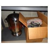 coffee perculator pot & glass drink dispener