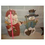 wood Christmas cutouts - Santa & snowman