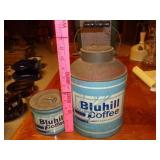 2 antique Bluhill Coffee tins
