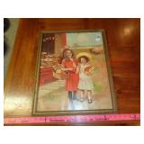 "Antique ""Bakery"" girls framed picture"