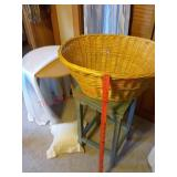 2 end table stands / basket / pillow / table cloth