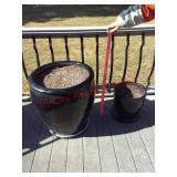 2 black flower pots / planters