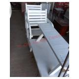 White wood patio set - chairs / table / bench