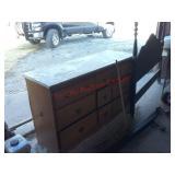 Vintage full headboard w/ rails & 9 drawer dresser