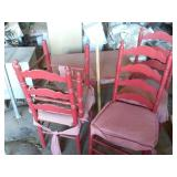4 wood ladder back dining chairs & table
