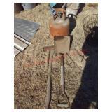 shovel, axe, propane tank