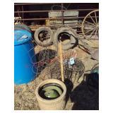 tomato cages, plastic flower pots, plant stands