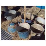 Vintage enamelware, tea kettle, chamber pots