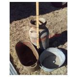 Job lot cream can / cast iron kettle / wash tub