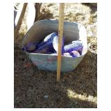 Galvanized wash tub w/ blue glass bottles