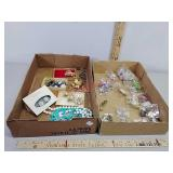 Assorted costume jewelry and key chains