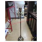 Vintage brass floor lamp, works, approx 62 in