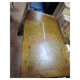 Wood dining table with 2 leaves, approx 75 l x 41