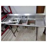 Commercial stainless kitchen sink