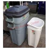 >Rubbermaid trash cans, 2 roughneck, 2 other