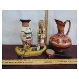 Native American art, pottery, vintage statue,