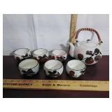 Chinese style tea set, pot, cups