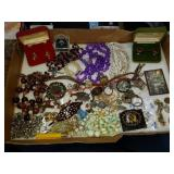Lot of costume jewelry, cuff links, more