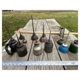 Lot of vintage oil cans