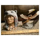 Lot of 2 Native American statues