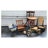 > Childs lot. Rocking Chairs, High Chair, Doll