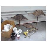 Wood ducks, sprinkler, pvc pipe fittings