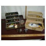 > 2 vintage fishing reels & 2 tackle box w/